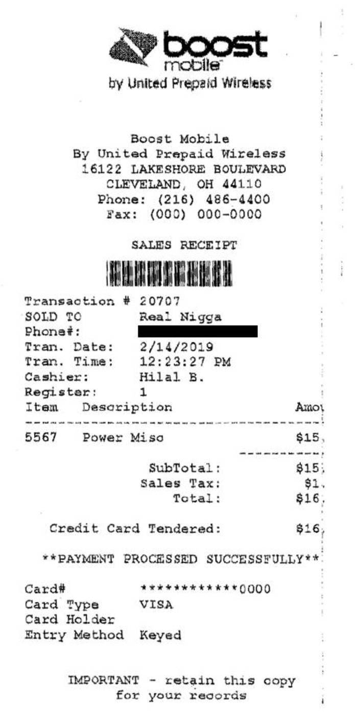 "Ohio Civil Rights Commission rules against Cleveland Boost Mobile store for receipt branding a black customer a ""Real N—-."""
